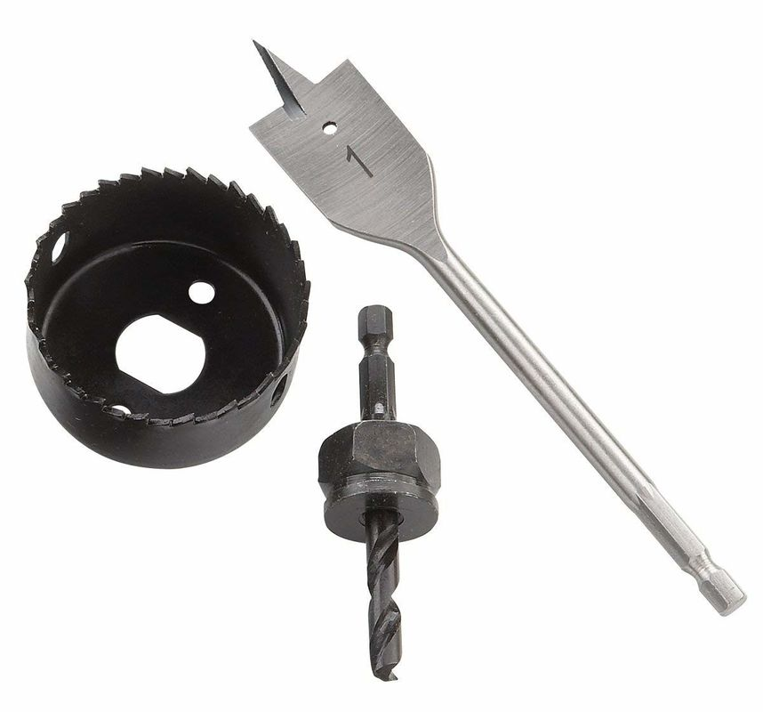 Hole Saws Kit With Flat Drill Bits And Hole Cutter For Door Lock Installation