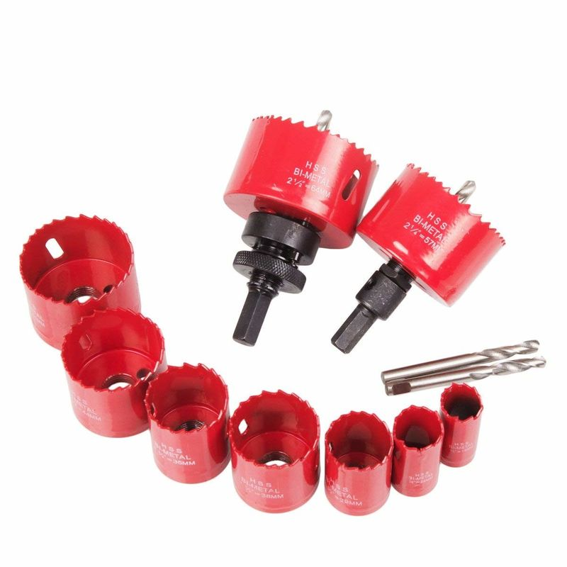 "3/4""-2 1/2"" HSS Bi-Metal Hole Saw Drill Bit Set with Mandrel Pilot Bit & Adapter"